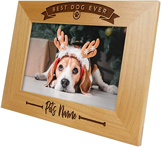 PERSONALISED BEST DOG EVER ADD PET NAME CUSTOM PICTURE - Brown