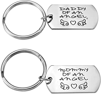 """PERSONALISED ENGRAVAING NAME""""MOMMY/DADDY OF AN ANGEL"""" KEYCHAIN STAINLESS STEEL - Silver"""