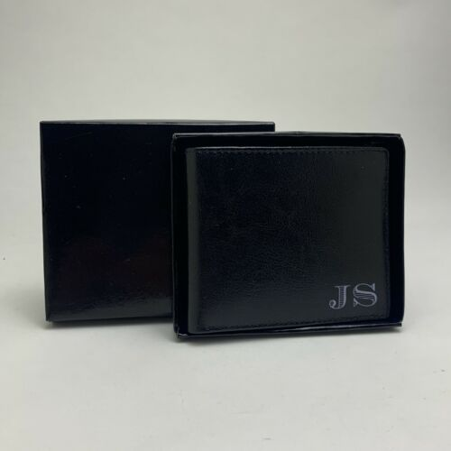 PERSONALISED J S REAL GENIUIN LEATHER MONEY WALLET - Black