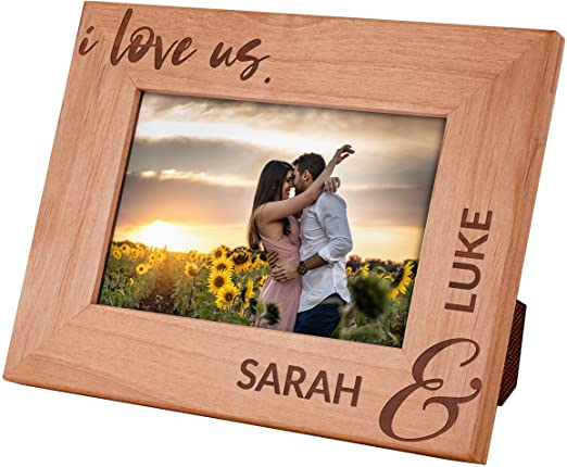 PERSONALISED PICTURE FRAME FOR COUPLE-I LOVE US - Brown