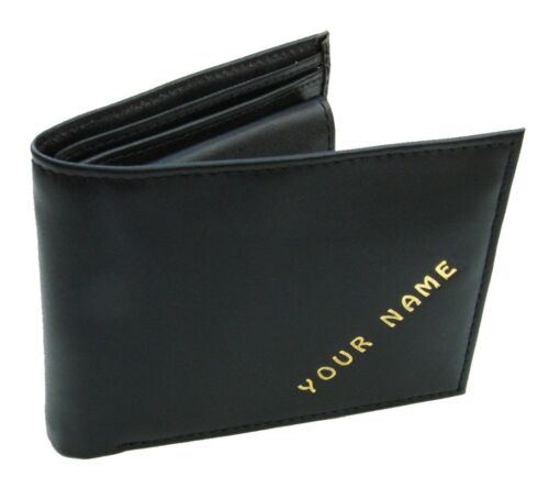 PERSONALISED MENS WALLET WITH ONE NAME OUTSIDE AND ONE SHORT IMAGE - Black