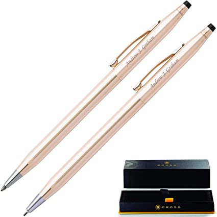 PERSONALISED GOLD CROSS PEN SET - Gold