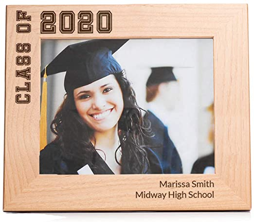 PERSONALISED ENGRAVED GRADUATION PITCURE FRAME 2020 - Brown