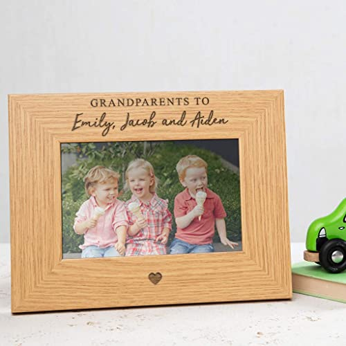PERSONALISED GRANDPARENTS GIFT KIDS WOODEN FRAME NAME TEXT HERE - Brown