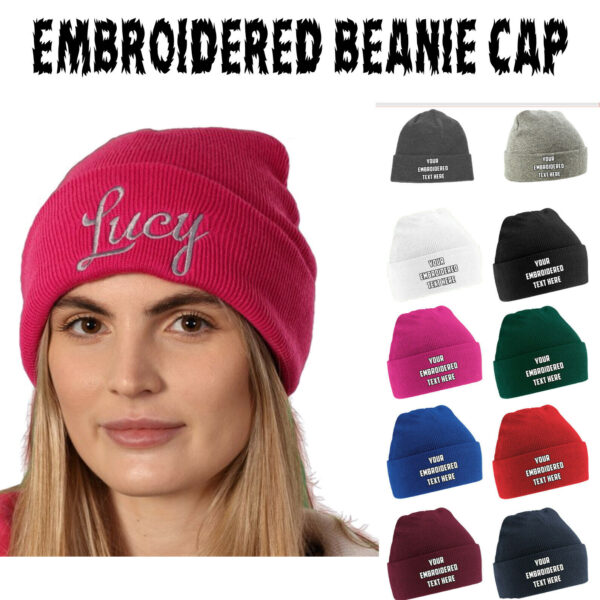 Personalised Embroidered Beanie Cap