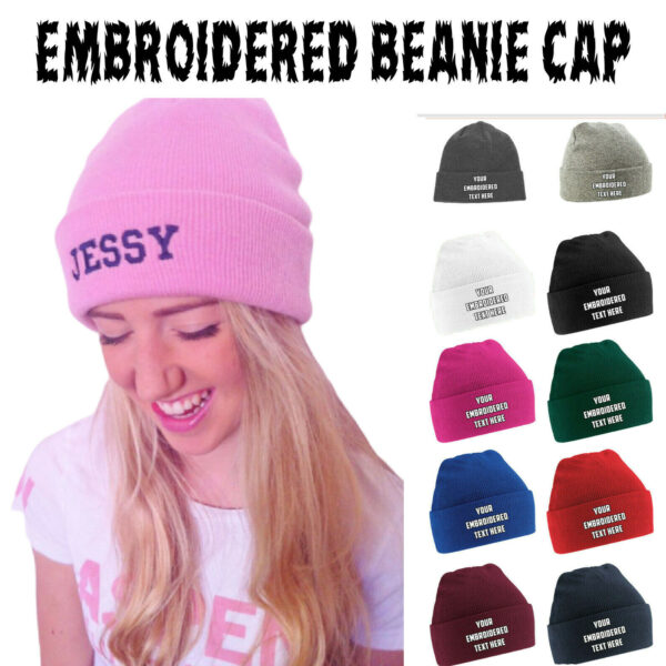 Personalised Embroidered Your Text Name Alphabet Unisex Beanie